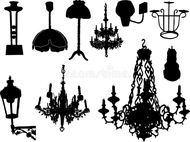 Lâmpadas, castiçal ilustração stock