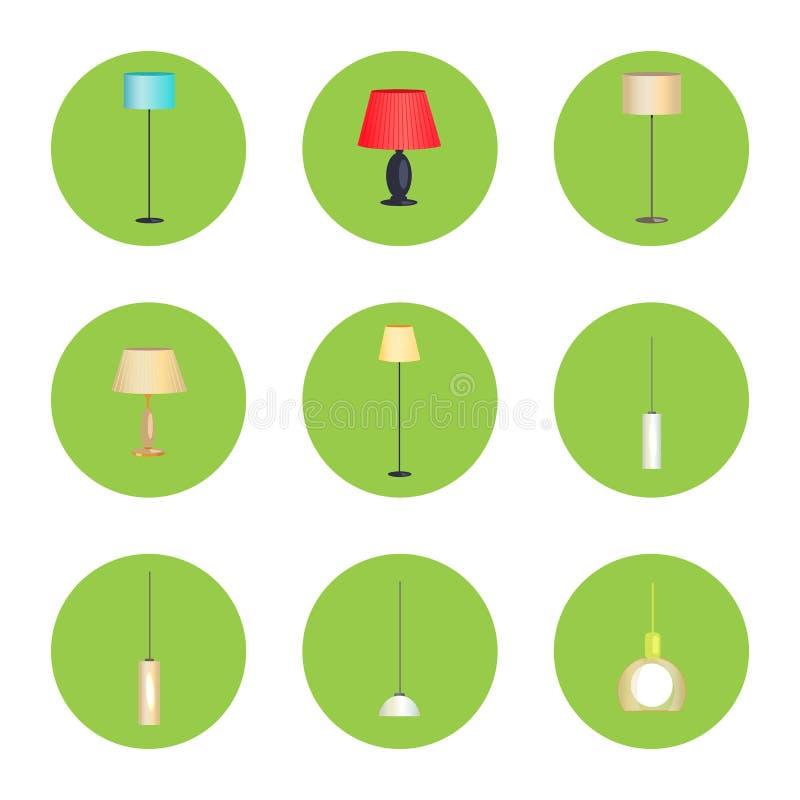 Lâmpadas da eletricidade isoladas nos círculos verdes ajustados ilustração stock