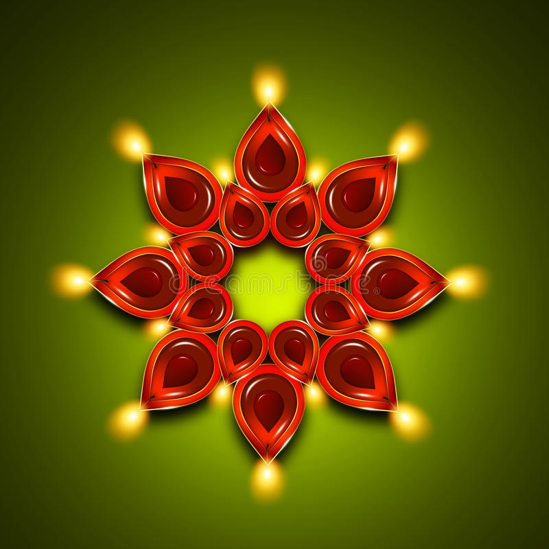 Lâmpadas de óleo com elementos do diya do diwali sobre a obscuridade - verde ilustração stock