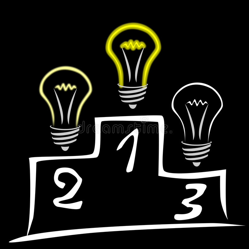Lâmpadas de fulgor no pódio ilustração stock