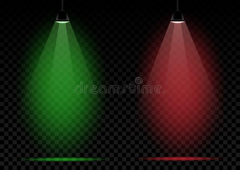 Lâmpadas de néon verdes e luzes vermelhas ilustração stock