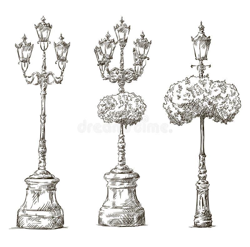 Lâmpadas de rua A lâmpada afixa desenhos esboço freehand ilustração royalty free