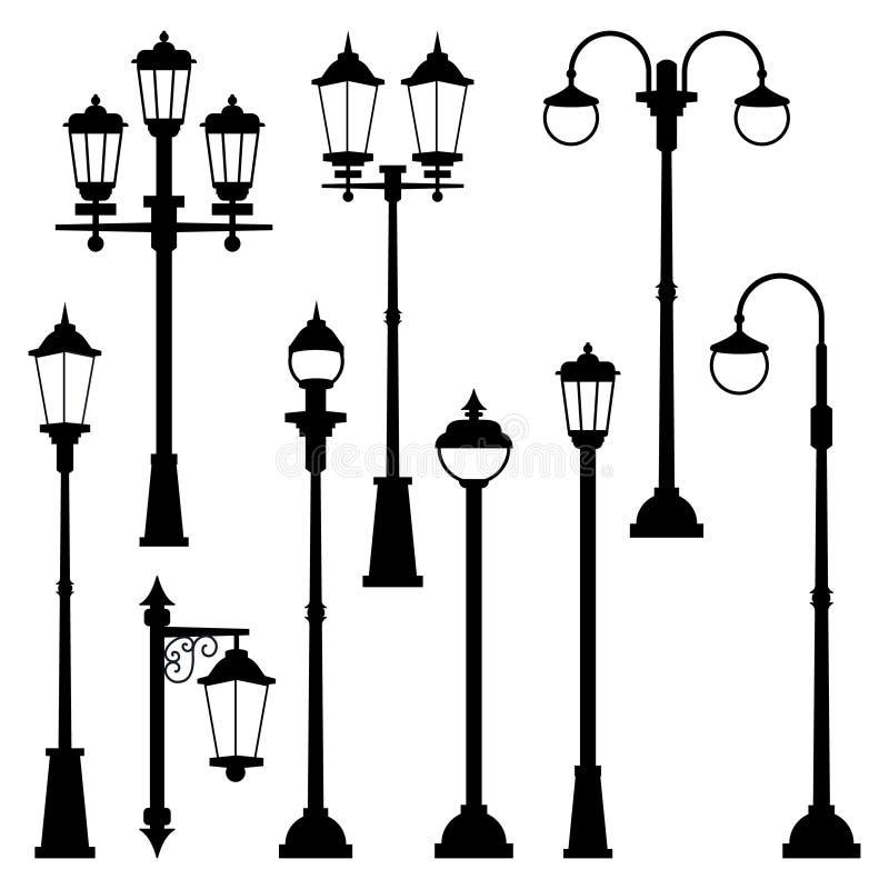 Lâmpadas de rua velhas ajustadas no estilo monocromático Isolado das ilustrações do vetor ilustração stock