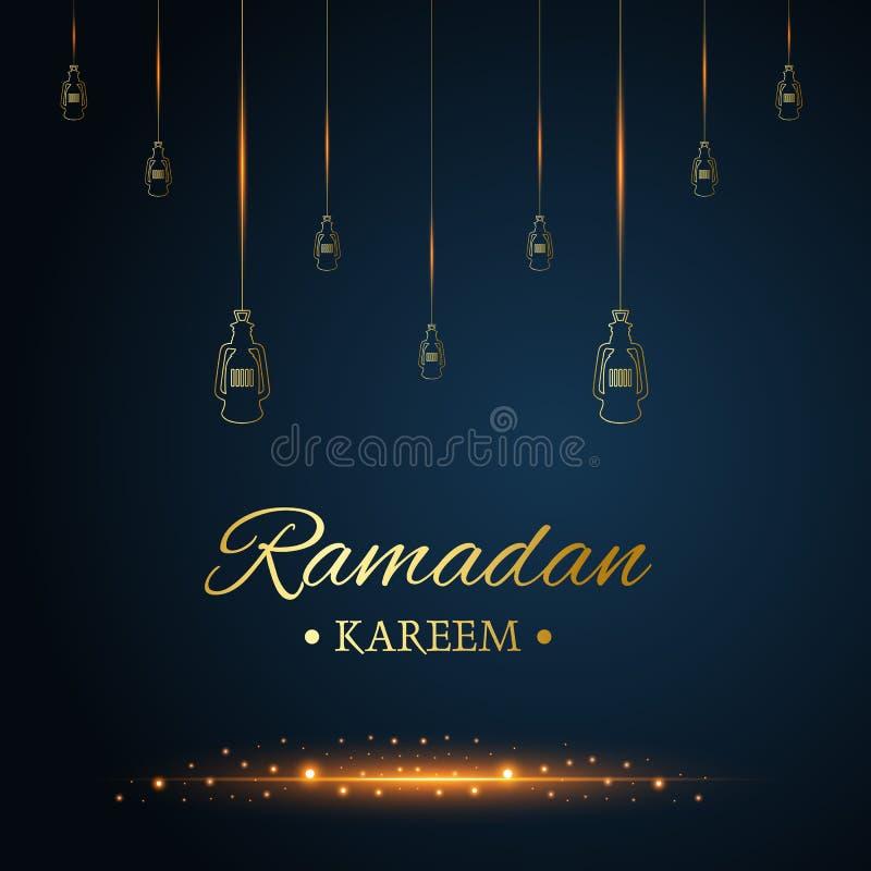 Lâmpadas de suspensão islâmicas douradas, kareem de ramadan escritos com preto e o escuro - fundo azul, vetor ilustração do vetor