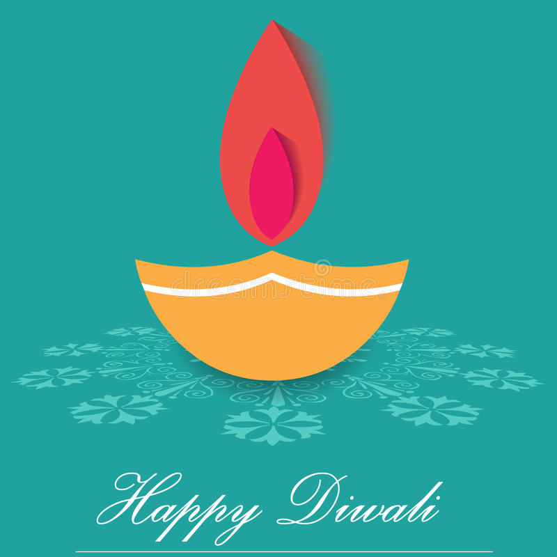 Lâmpadas decorativas de Diwali, projeto liso do cartão feliz do diwali ilustração stock