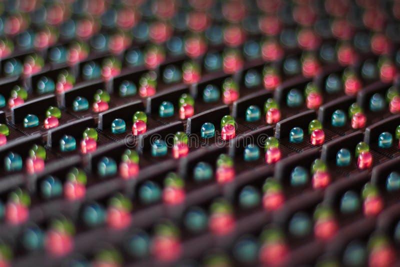 Lâmpadas do diodo emissor de luz na eletrônica imagem de stock royalty free