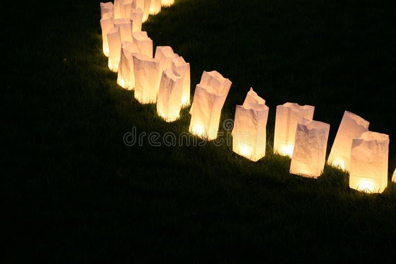 Lâmpadas do saco de papel fotos de stock