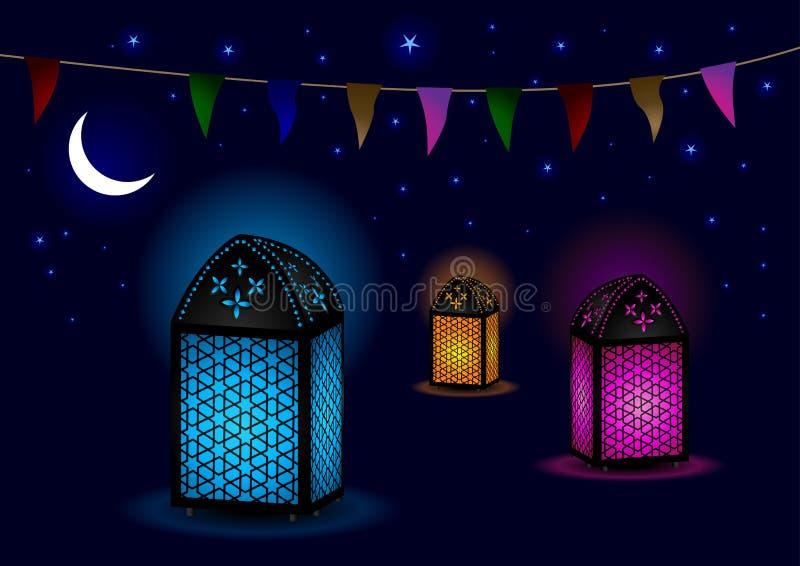 Lâmpadas islâmicas bonitas com crescente e estrelas ilustração royalty free