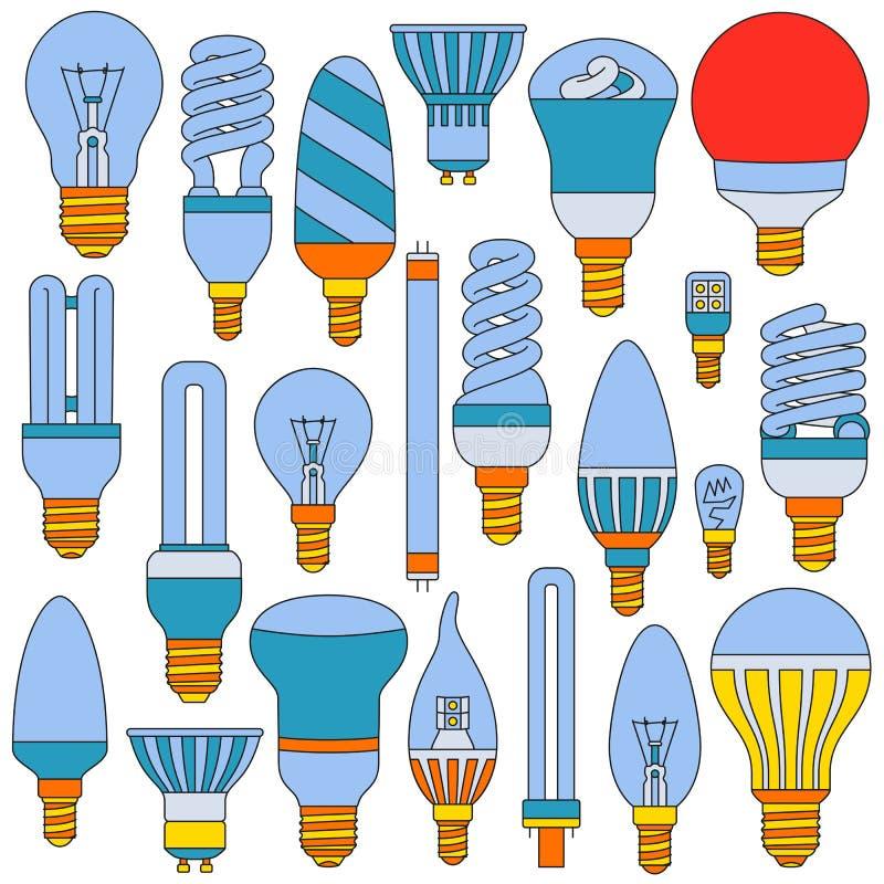Lâmpadas leves ajustadas Ícones esboçados coloridos no branco ilustração do vetor