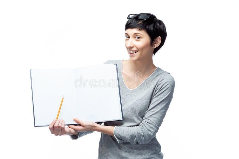 Lächelnde Studentin, Lehrer oder Geschäft lizenzfreie stockfotos
