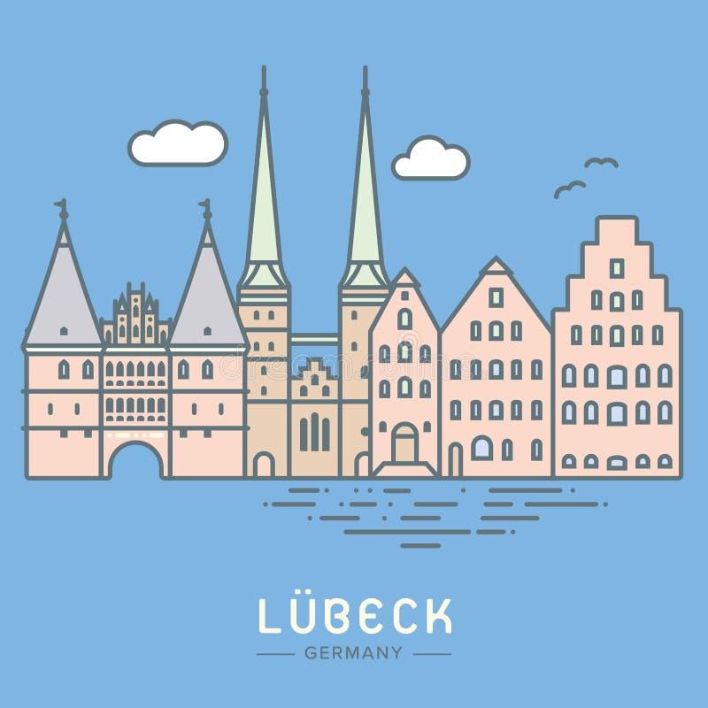 LÃ ¼ potoczka pejzażu miejskiego płaska wektorowa ilustracja ilustracja wektor