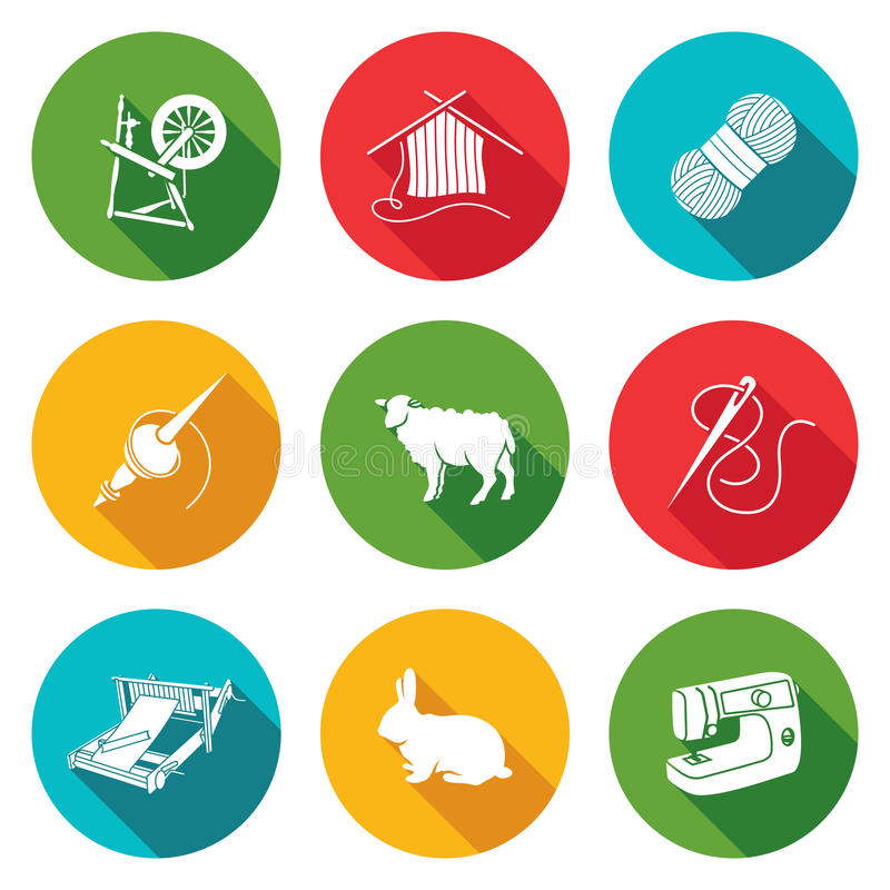 Lãs, ícones de confecção de malhas ajustados Ilustração do vetor ilustração do vetor