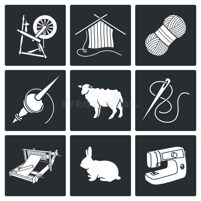 Lãs, ícones de confecção de malhas do vetor ajustados ilustração do vetor