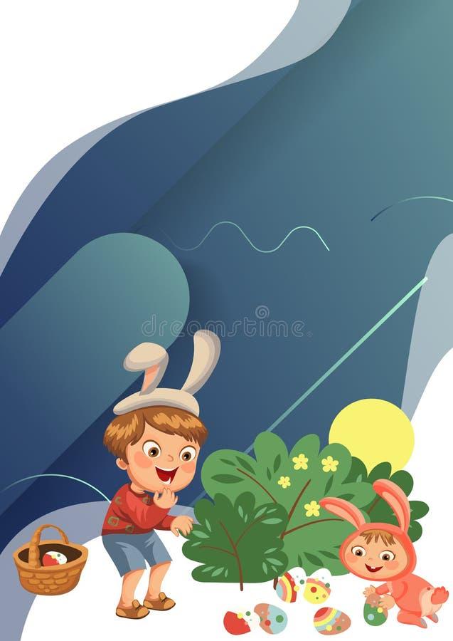 Lächeln des kleinen Jungen, das dekoratives Schokoladenei unter Bürste im Osterhasenkostüm mit den Ohren und Endstück, Vektor jag stockfoto