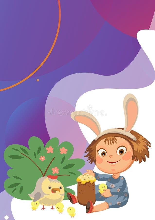 Lächeln des kleinen Mädchens, das mit Hühnern unter Blumenbusch, Baby im Schutzblech mit Hasenohrstirnband, Osterhasenmaske spiel lizenzfreie stockfotografie
