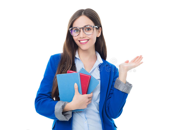 Lächeln des weiblichen Kursteilnehmers stockfotografie