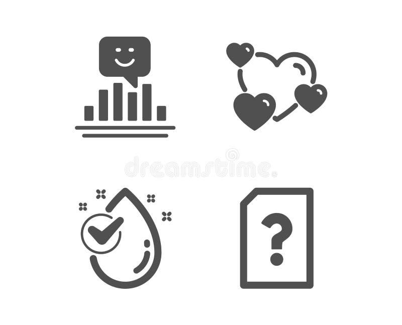 Lächeln-, Herz- und Wassertropfenikonen Unbekanntes Dateizeichen Positives Feedback, veranschlagende Liebe, sauberes Aqua Vektor lizenzfreie abbildung