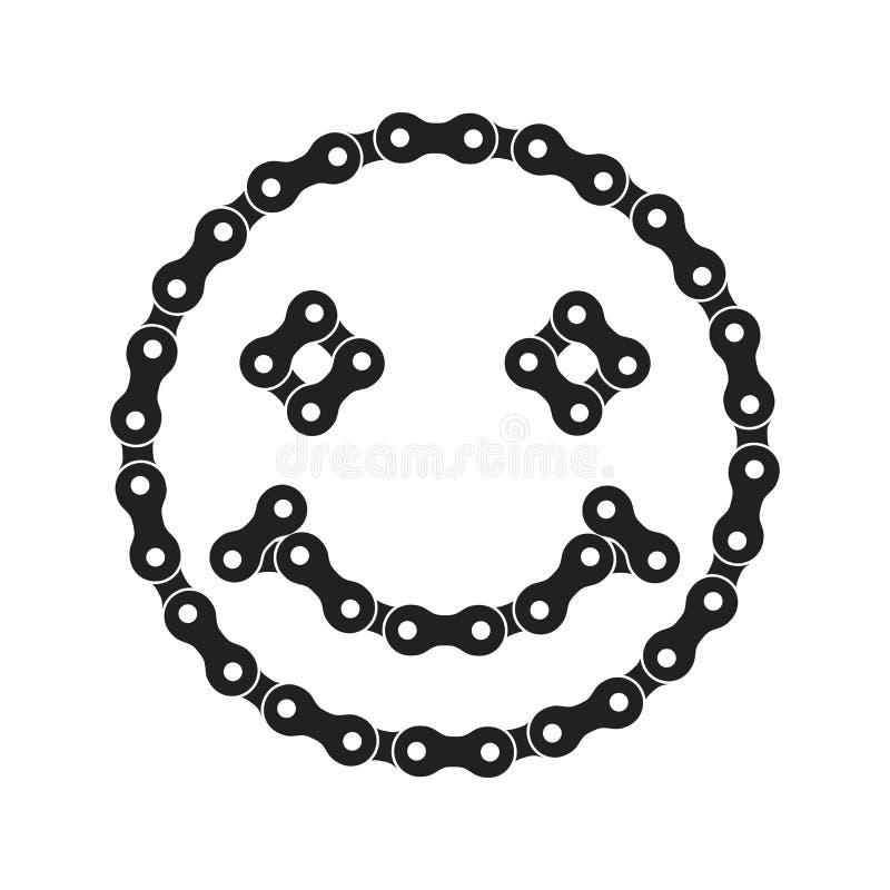 Lächeln, lächelndes Emoji, positive Vektor-Ikone gemacht vom Fahrrad oder von der Fahrrad-Kette stock abbildung