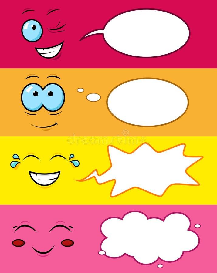 Lächeln mit lustigen Gefühlen auf einem lokalisierten Hintergrund lizenzfreie abbildung