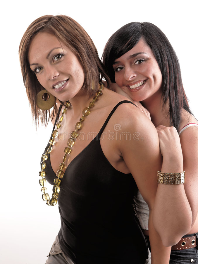 Lächeln A mit zwei Frauen lizenzfreie stockbilder