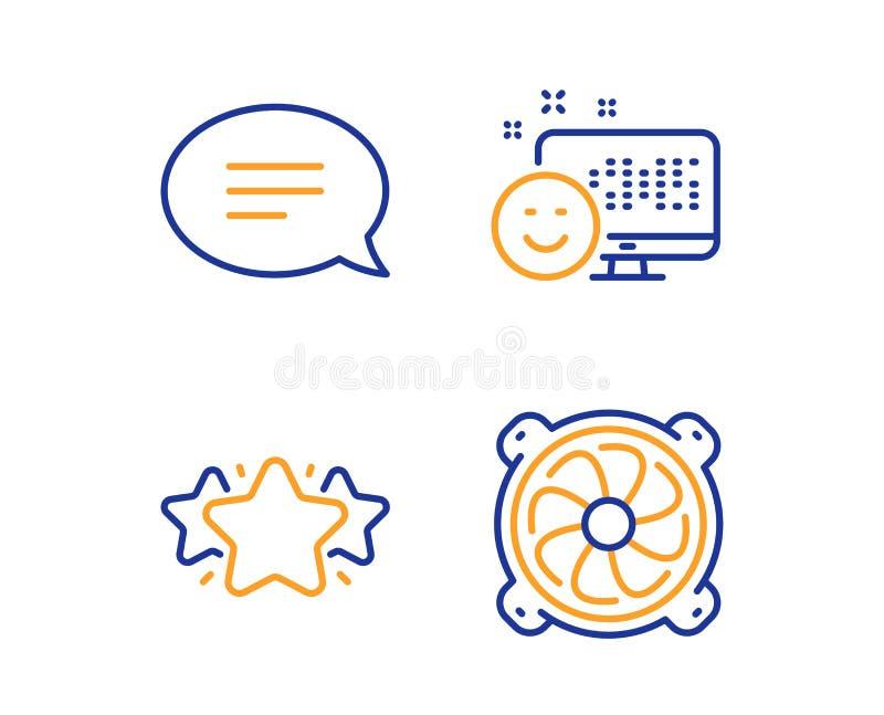 Lächeln-, Stern- und Schwätzchenikonensatz Computerfanzeichen Positives Feedback, Lieblings, Spracheblase PC-Ventilator Vektor stock abbildung