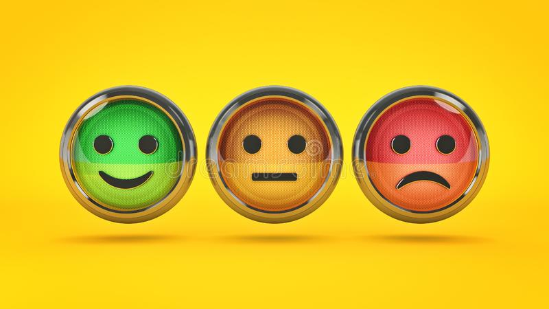Lächeln-/Stirnrunzelnknöpfe für Website Wiedergabe 3d stock abbildung