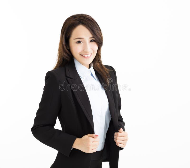 Lächeln und überzeugte junge Geschäftsfrau lizenzfreies stockbild