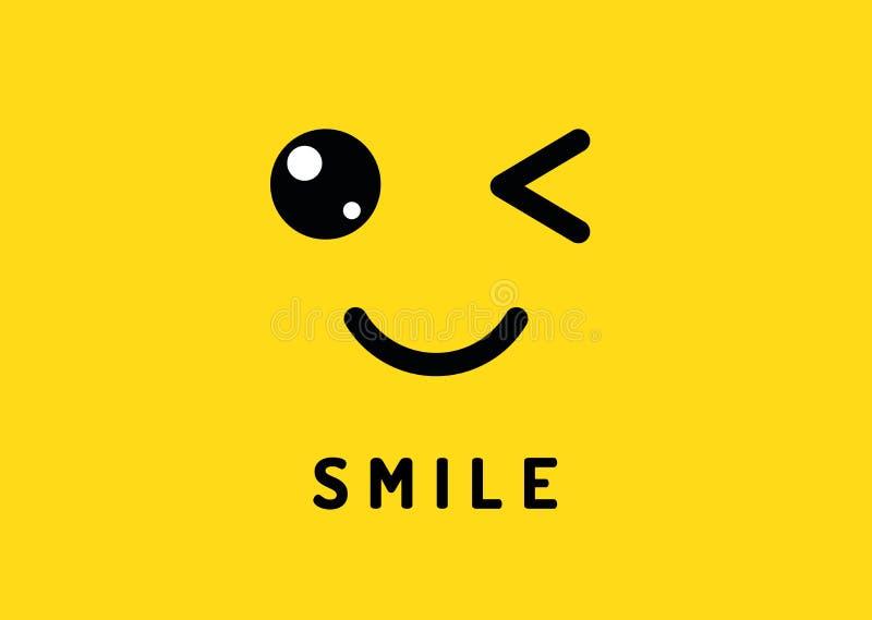 Lächeln und Blinzeln Glückliches lächelndes Gesicht, lustiger Wink lokalisiert auf gelbem Hintergrund Gelächter- und Lächelnvekto stock abbildung