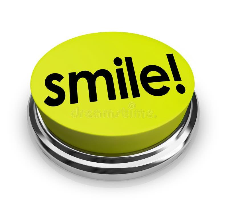 Lächeln-Wort-Gelb-Knopf-lustiger Humor-guter Geist lizenzfreie abbildung