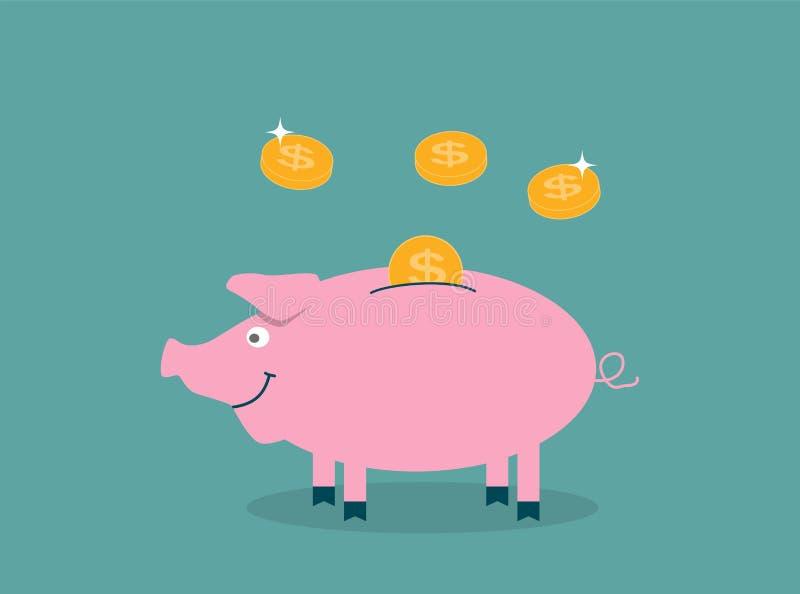 Lächelnd, prägt recht rosa Schweinsparschwein mit dem Fallen - Contrib lizenzfreie abbildung