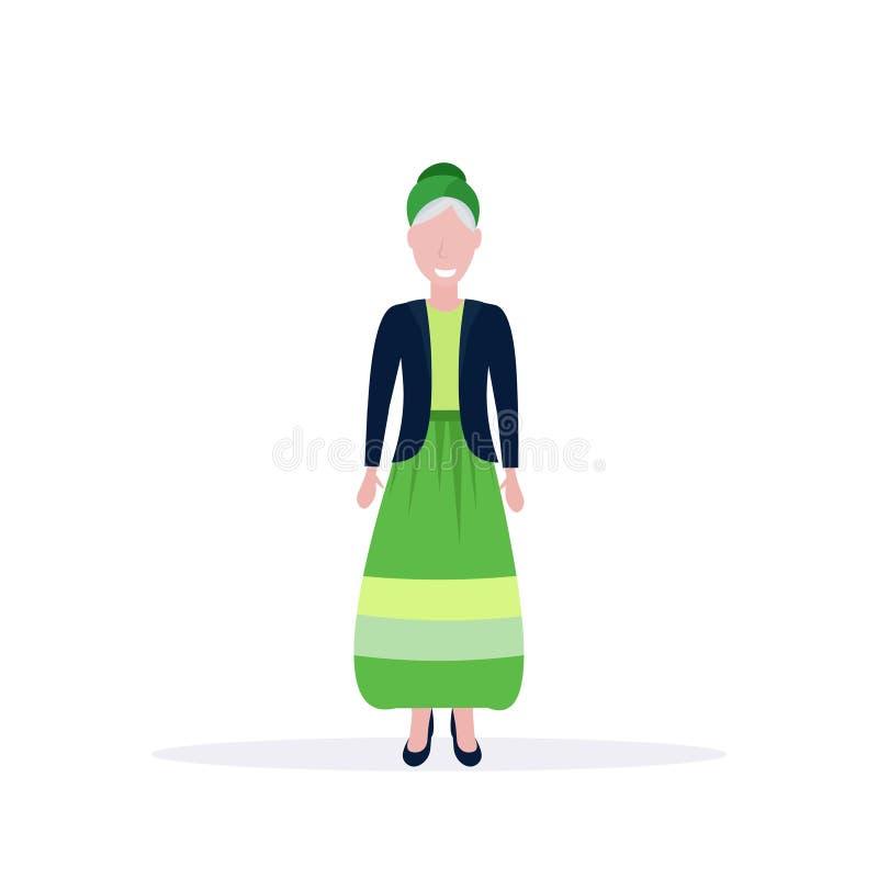 Lächelnde ältere Dame der zufälligen reifen Frauenstellungs-Haltung, die Ebene der modischen Zeichentrickfilm-Figur der Kleidu stock abbildung