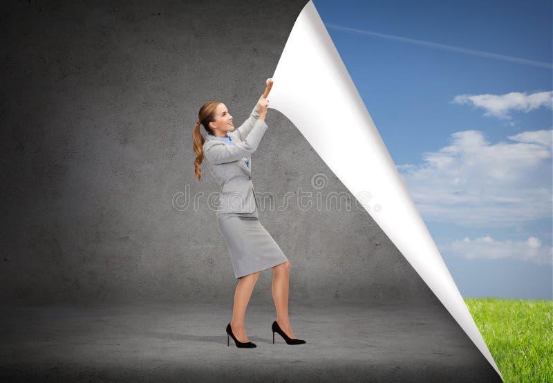 Lächelnde ändernde Landschaften der Geschäftsfrau stockbilder