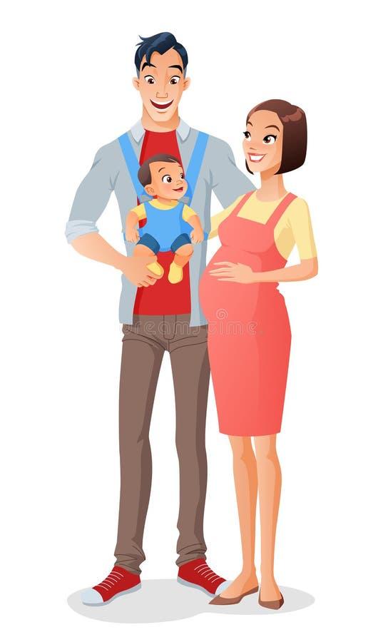 Lächelnde asiatische Familie der Karikatur mit Baby in der Fördermaschine und in der Erwartung eines anderen Kindes Auch im corel lizenzfreie abbildung