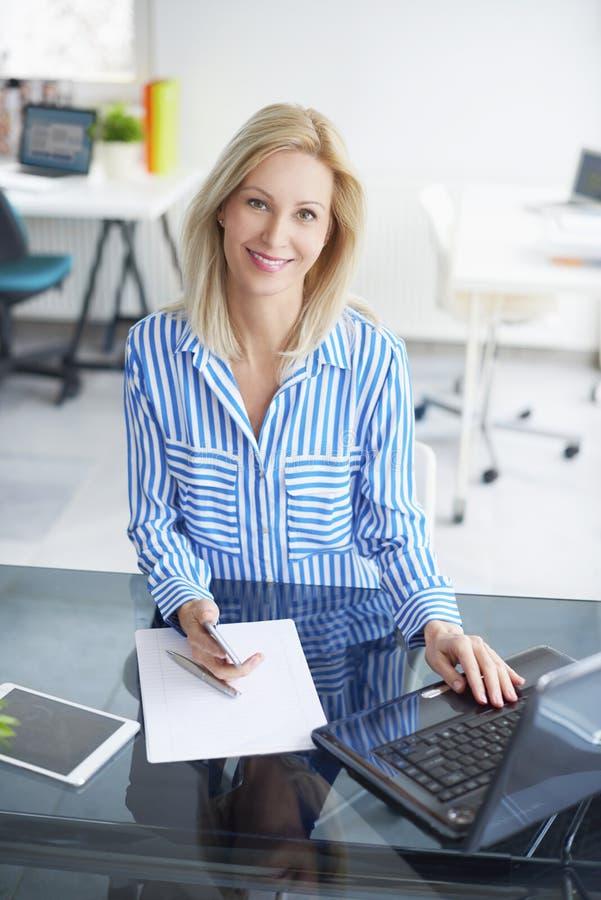 Lächelnde Berufsfrau lizenzfreie stockbilder