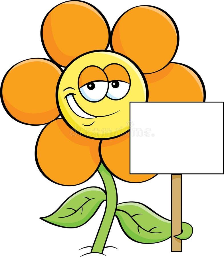 Lächelnde Blume der Karikatur, die ein Zeichen hält lizenzfreie abbildung