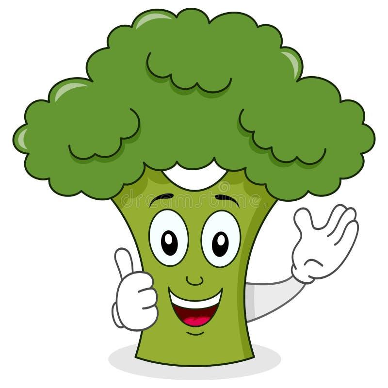 Lächelnde Brokkoli-nette Zeichentrickfilm-Figur lizenzfreie abbildung
