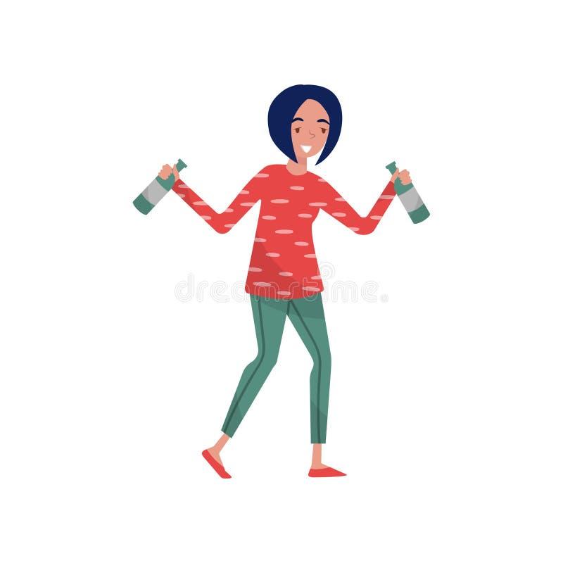 Lächelnde Brunette getrunkene Zeichentrickfilm-Figur der jungen Frau, Mädchen, das mit Flaschen des alkoholischen Getränks in ihr stock abbildung