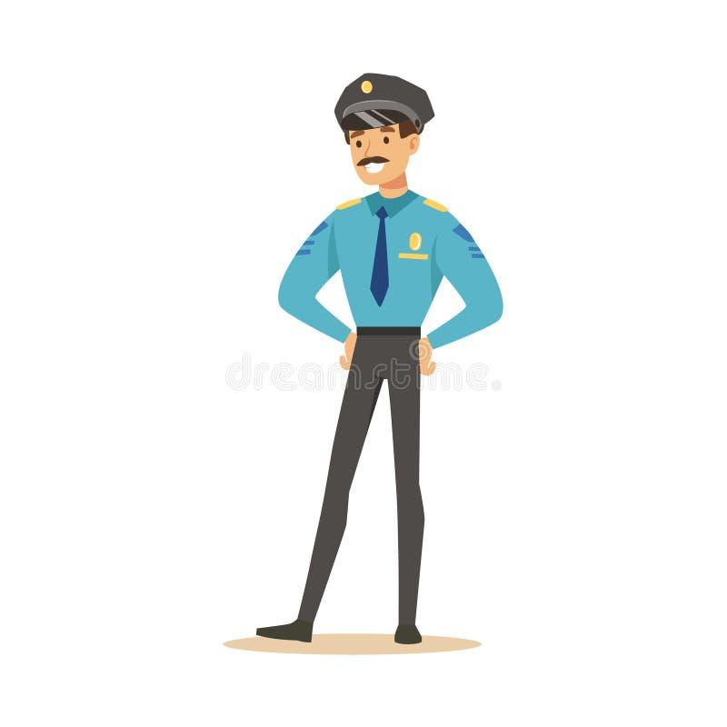 Lächelnde Charakter-Vektor Illustration des Polizeibeamten stehende lizenzfreie abbildung