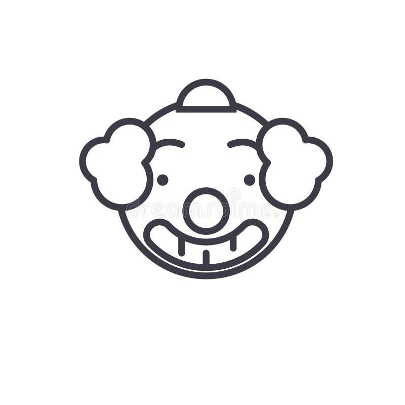 Lächelnde Clown-Emoji-Konzeptlinie editable Vektor, Konzeptikone Lächelnde lineare Gefühlillustration Clown-Emoji-Konzeptes stock abbildung