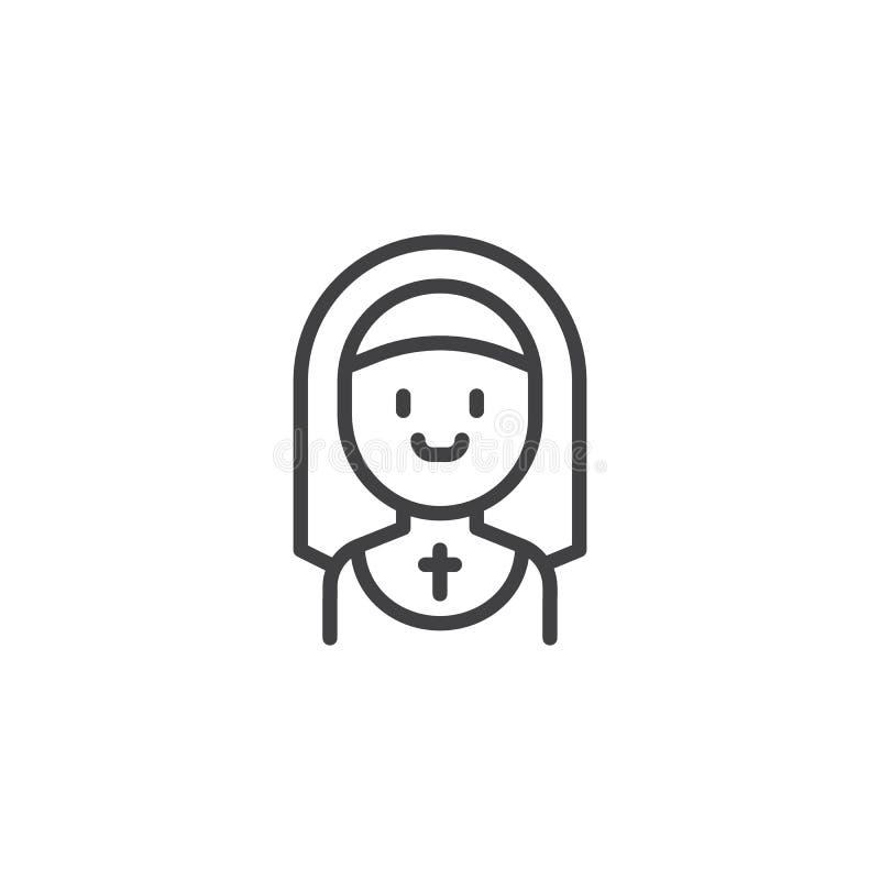 Lächelnde Entwurfsikone der Nonne stock abbildung