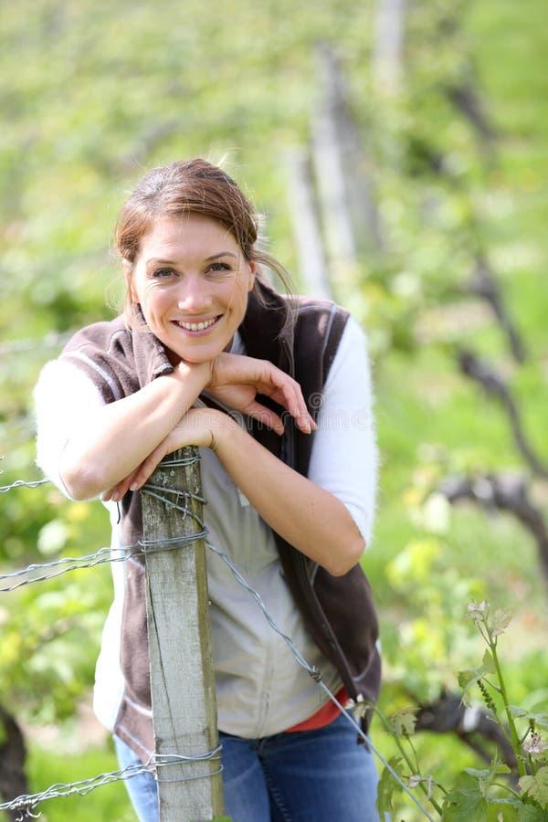 Lächelnde Frau in den Weinbergen stockfotografie