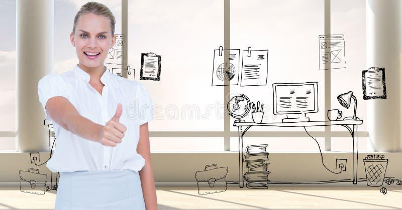 Lächelnde Frau, die Daumen oben gegen Grafiken zeigt stockfotos