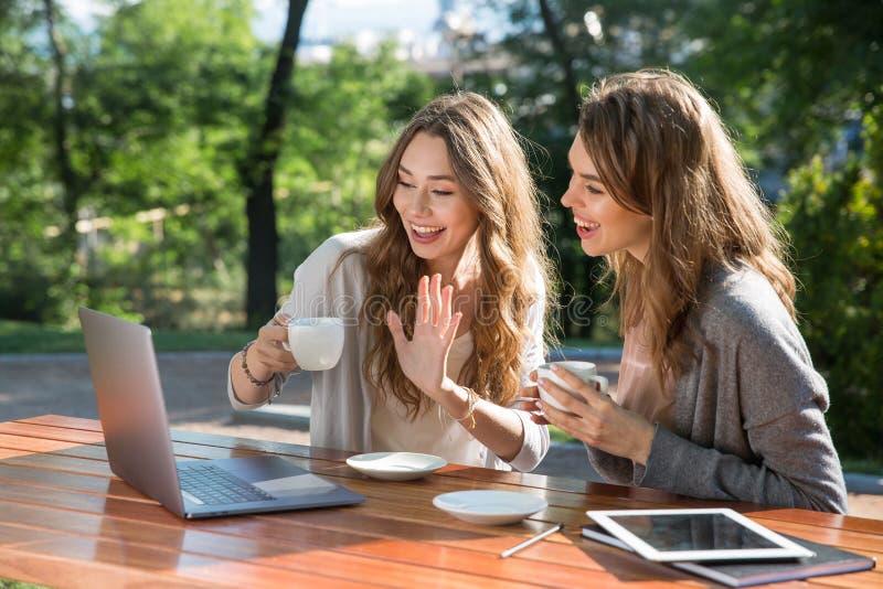 Lächelnde Frauen, die draußen in trinkendem Kaffee des Parks unter Verwendung des Laptops sitzen lizenzfreies stockbild
