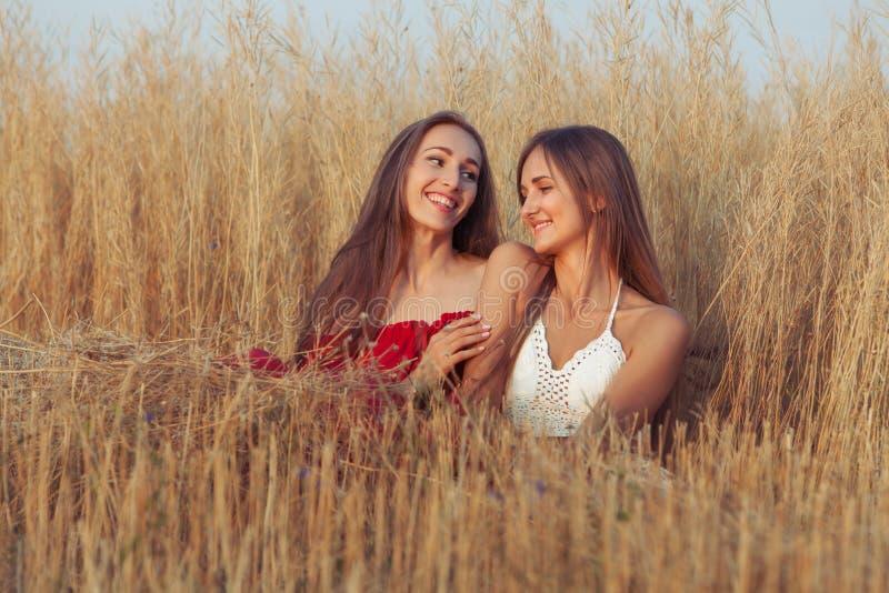 Lächelnde Frauen sind in der Liebe stockbild