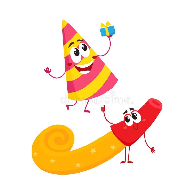 Lächelnde Geburtstagsfeiercharaktere - spriped Hut und Horn, Gebläse, Geräuschhersteller lizenzfreie abbildung