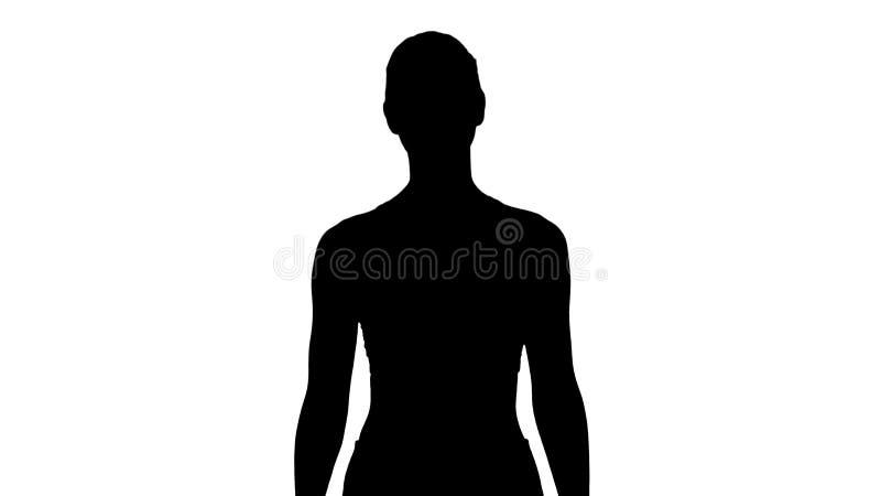 Lächelnde gehende und lächelnde Sportfrau des Schattenbildes stockfotografie