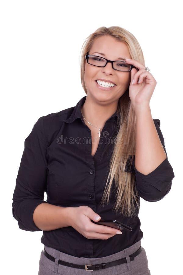 Lächelnde Geschäftsfrau stockbild
