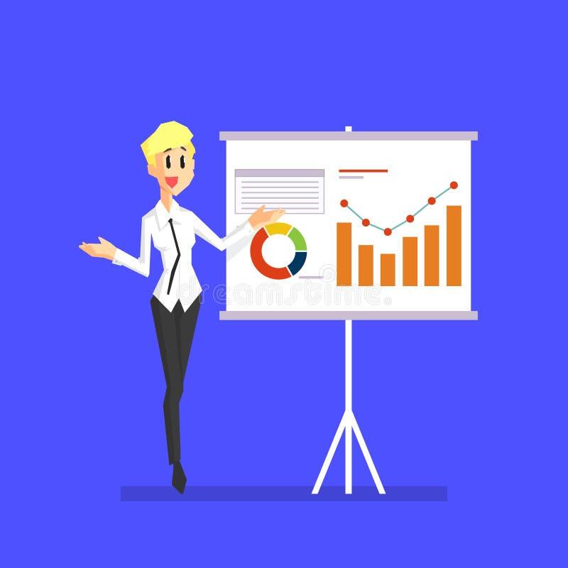 Lächelnde Geschäftsfrau Explaining Information Graphics auf Flip Chart, weibliche Büro-Charakter-Vektor-Illustration lizenzfreie abbildung
