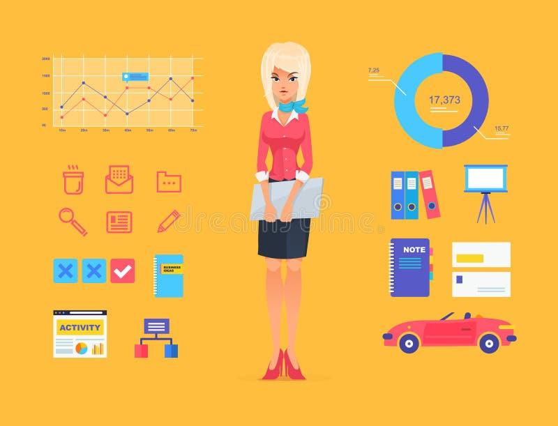 Lächelnde Geschäftsfrau-Vektor Illustration von stock abbildung