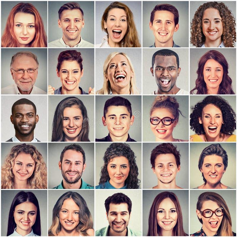 Lächelnde Gesichter Glückliche Gruppe multiethnische Leute lizenzfreie stockfotos